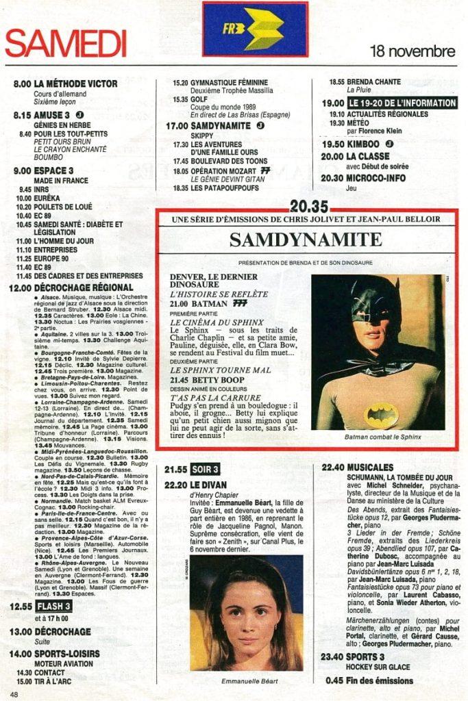 Programme TV - FR3 - 1989
