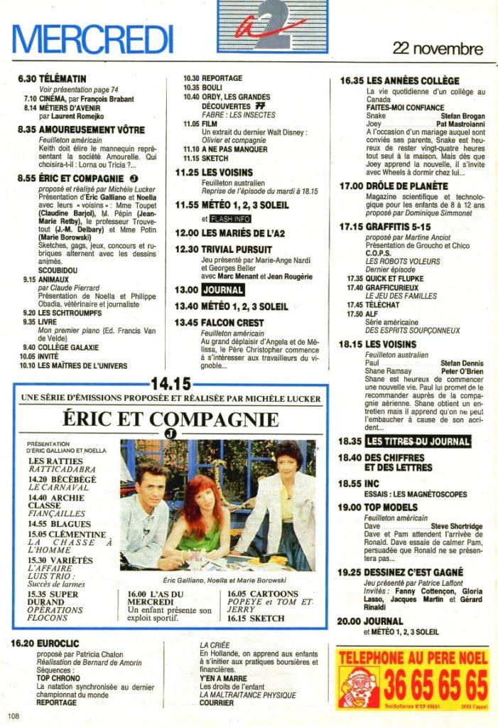 Programme TV - Antenne 2 - 1989