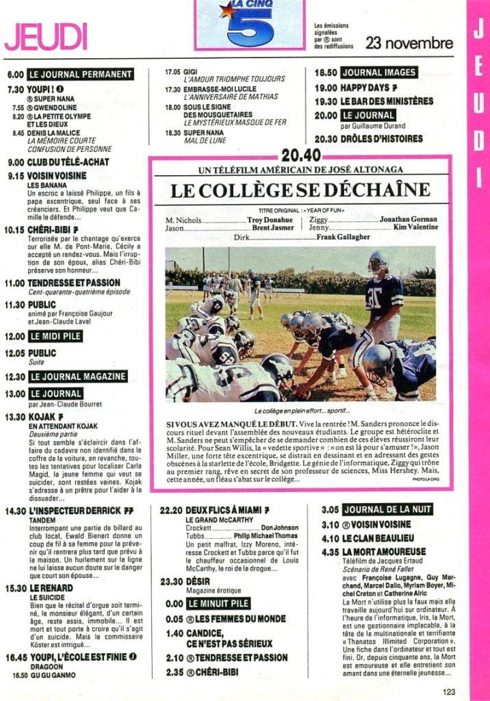 Programme TV - La Cinq - 1989