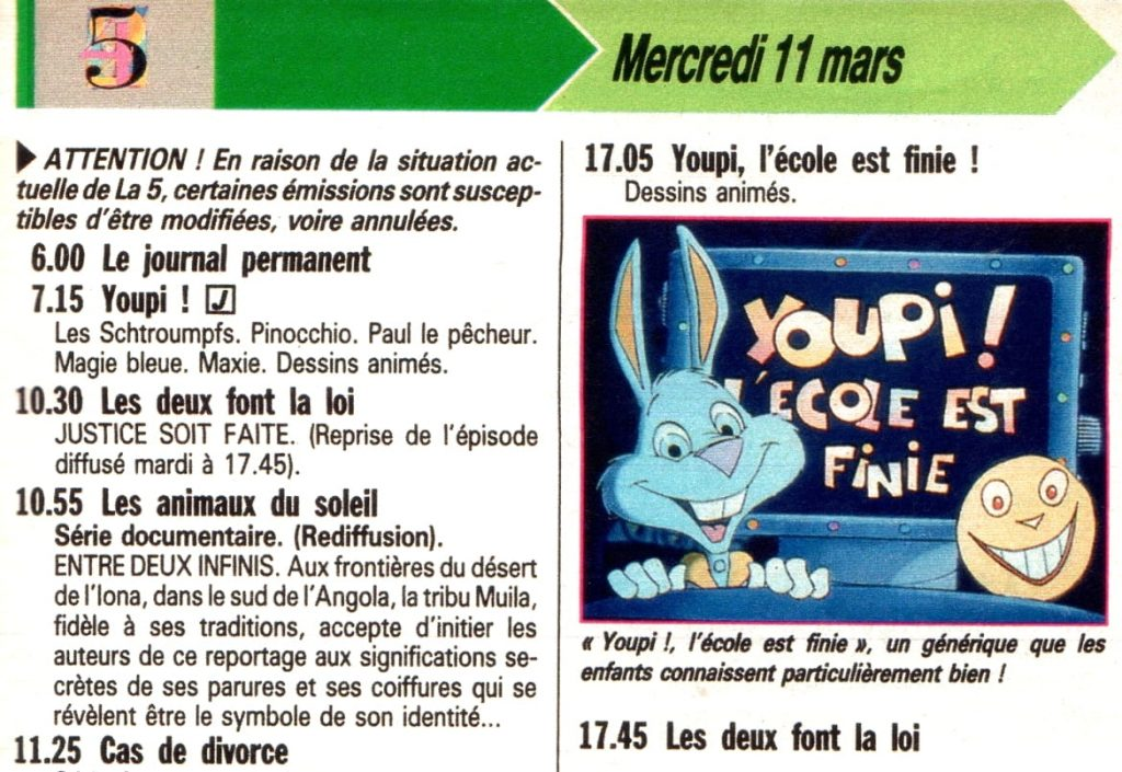 rogramme TV - la CInq - 1992