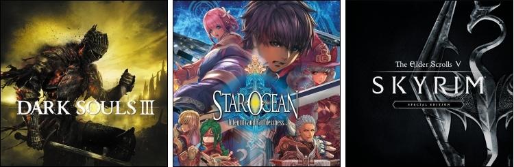 Dark Souls 3 - Star Ocean V - Skyrim Special Edition